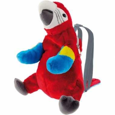 Rode ara papegaai vogel rugzak/rugtas knuffels 32 cm knuffeldieren
