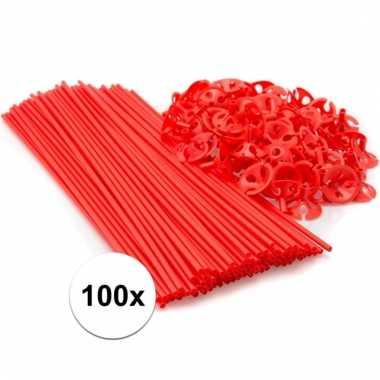 Rode ballonstokjes 100 stuks