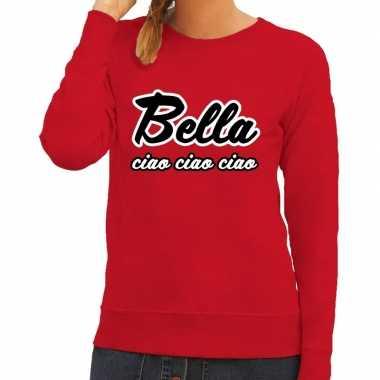 Rode bankovervaller bella ciao trui voor dames