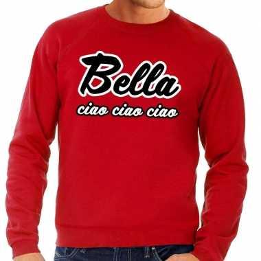 Rode bankovervaller bella ciao trui voor heren