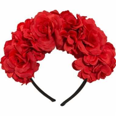 Rode bloemen tiara