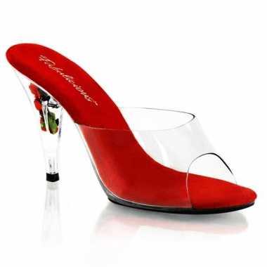 Rode bloemetjes sandaal pumps