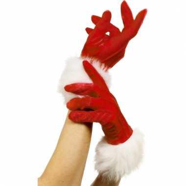 Rode bont kerst handschoenen