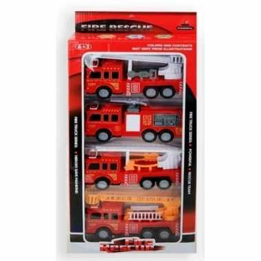 Rode brandweer auto set 4 stuks