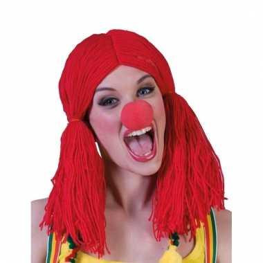Rode clownspruik met staartkes
