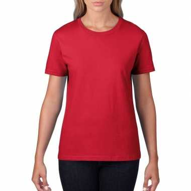 Rode dames casual t-shirts met ronde hals