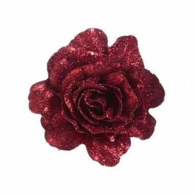 Rode decoratie roos glitters op clip 10 cm