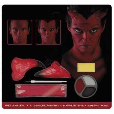 Rode duivel make-up set met hoorntjes