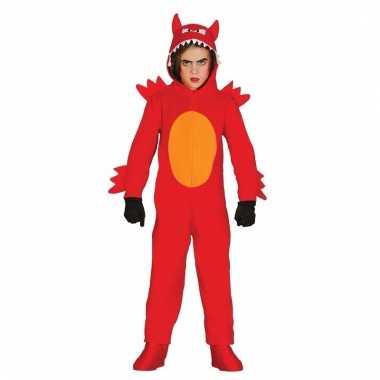 Rode duivel monster onesie voor jongens