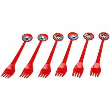 Rode feest vorken piraten thema 16 cm