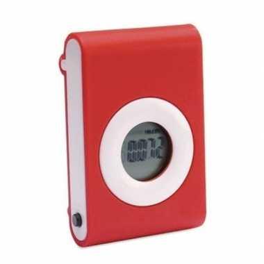 Rode fitness stappenteller/pedometer met riemclip
