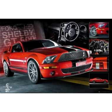 Rode ford mustang maxi poster 61 x 91,5 cm