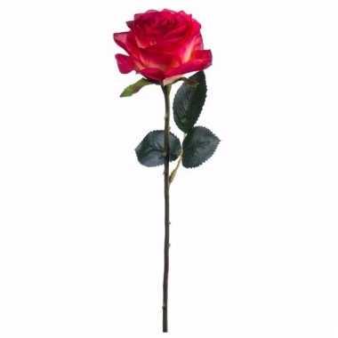 Rode/gele roosjes kunst tak 45 cm