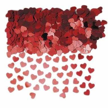 Rode glimmende hartjes confetti 10 zakjes