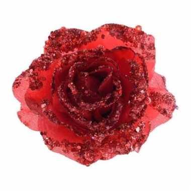Rode glitter rozen met clip