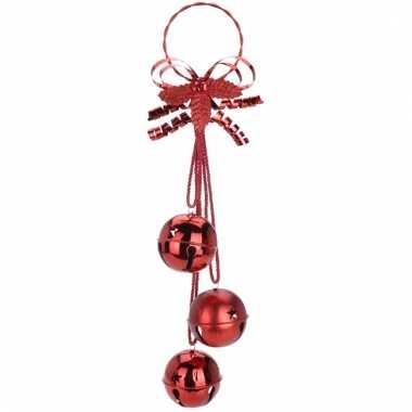 Rode hangdecoratie kerstbellen 50cm