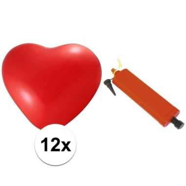 Rode harten ballonnetjes 12 stuks met ballonnenpomp