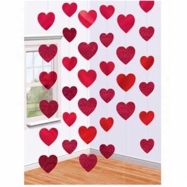Rode hartjes decoratie 6 slingers