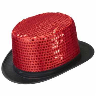 Rode hoge hoeden met pailletten