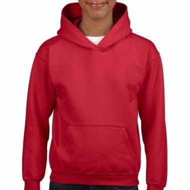Rode hooded meisjes sweater