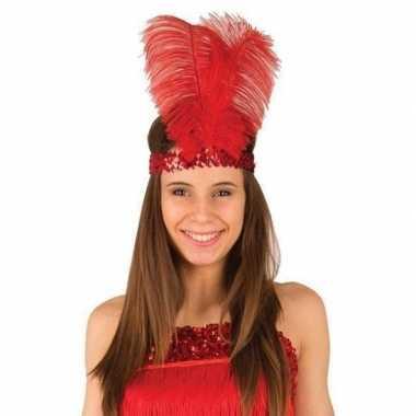 Rode jaren 20 verkleed hoofdband met veren voor dames