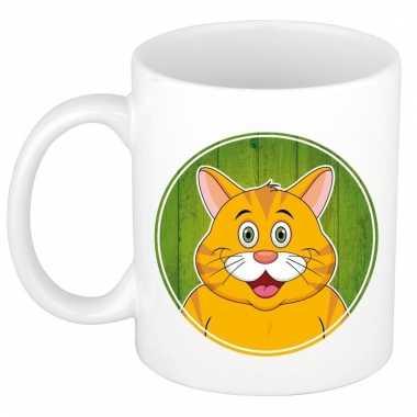 Rode kat dieren mok / beker van keramiek 300 ml
