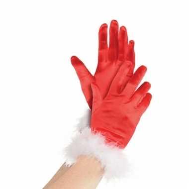 Rode kerst handschoenen voor vrouwen