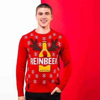 Rode kerst sweater met bierfles voor heren