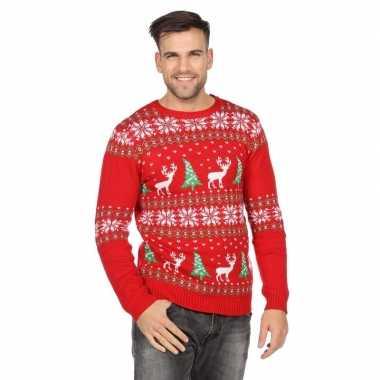 Rode kerst sweater met rendieren voor heren