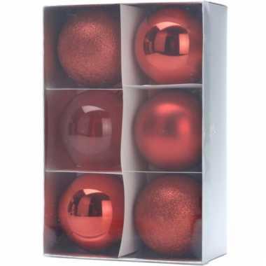Rode kerstballen 6 stuks
