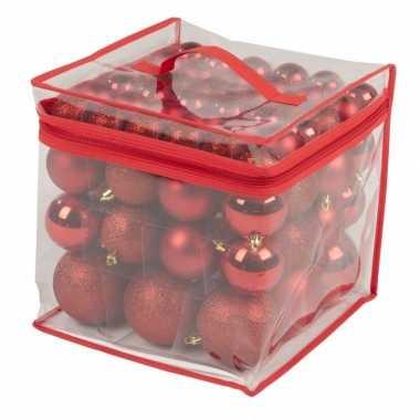 Rode kerstballen onbreekbaar 77 stuks 4 / 6 / 8 cm