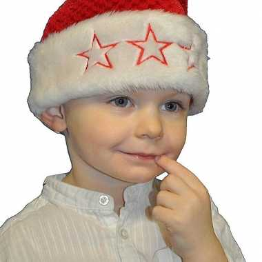 Rode kerstmuts met sterren voor kids