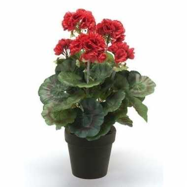 Rode kunstplant geranium plant in pot