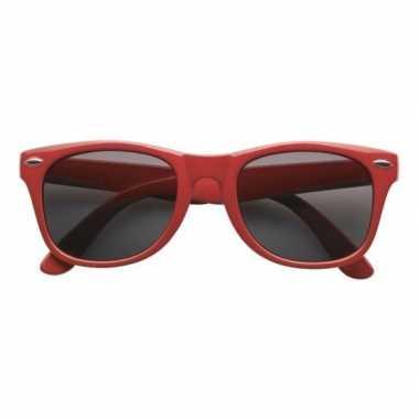 Rode kunststof zonnebril/zonnenbril voor dames/heren