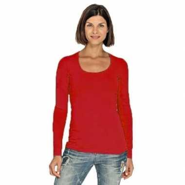 Rode longsleeve shirt met ronde hals voor dames