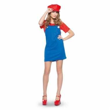 Rode loodgieter outfit voor dames