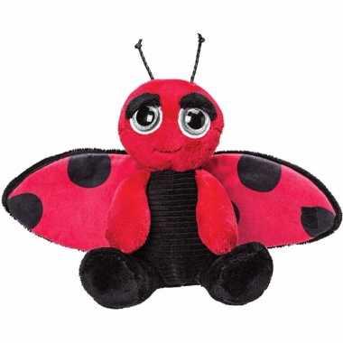 Rode met zwarte lieveheersbeestjes knuffels 18 cm knuffeldieren