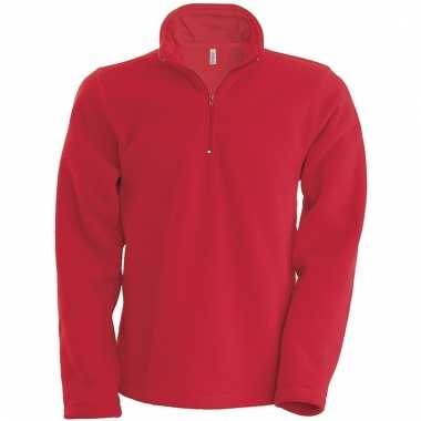 Rode micro polar fleece sweater voor heren