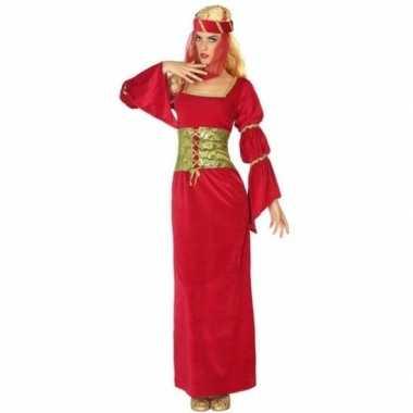 Rode middeleeuwse jonkvrouw jurk met sluier