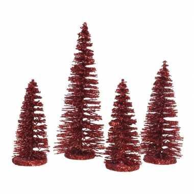 Rode mini decoratie kerstboompjes 4 stuks