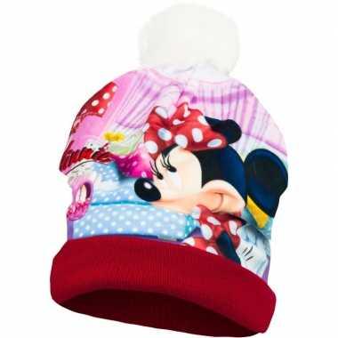 Rode minnie mouse wintermuts voor meisjes