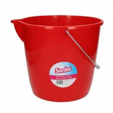 Rode mopemmer / emmer 12 liter met schenktuit