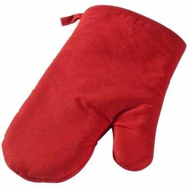 Rode ovenhandschoen van katoen