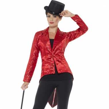 Rode pailletten circus jas voor dames