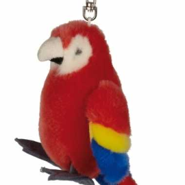 Rode papegaaien sleutelhanger 10 cm