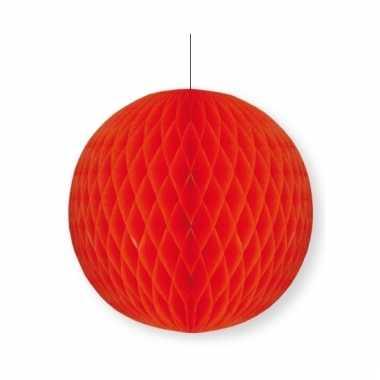 Rode papieren kerstbal 10 cm