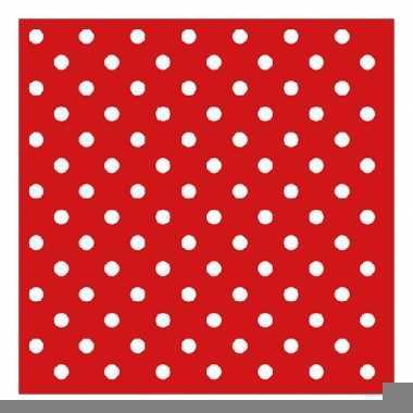 Rode papieren servetten met witte stippen 20 stuks
