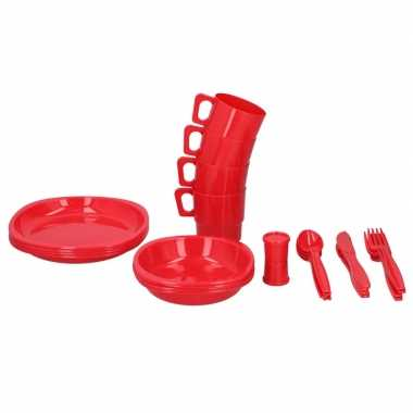 Rode picknick servies met bestek voor 4 personen
