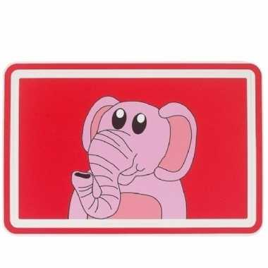 Rode placemat met roze olifant 44 cm