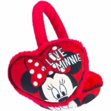 Rode pluche minnie mouse oorwarmers voor meisjes